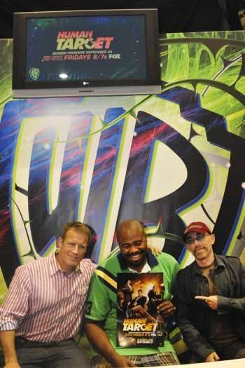 Human Target stars Mark Valley (left), Chi McBride and Jackie Earle Haley (right) joke around at the Human Target signing in the Warner Bros. booth (Copyright 2010 WBEI)
