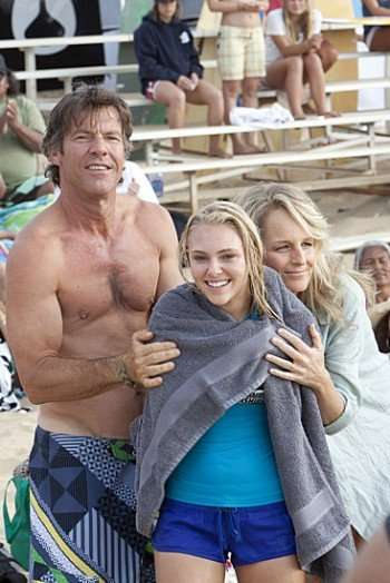 Dennis Quaid, AnnaSophia Robb, and Helen Hunt as Tom, Bethany, and Cheri Hamilton. Photo by Mario Perez.