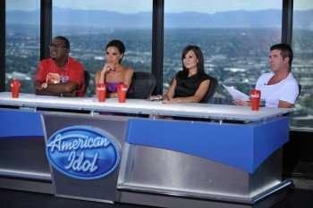 """American Idol"" judges,  L-R: Randy Jackson, Guest Judge Victoria Beckham, Kara DioGuardi and Simon Cowell at the Denver, Colorado auditions.  Photo: Michael Becker / courtesy of Fox."