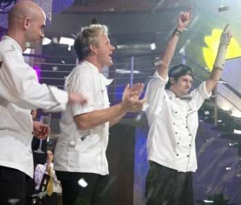 Dave (R) celebrates his victory with Chef Ramsay (C) and runner-up Kevin (L) on the season finale episode of HELL'S KITCHEN which aired Tuesday, October 13 (8:00-10:00 PM ET/PT) on FOX. ©2009 Fox Broadcasting Co. Cr: Patrick Wymore/FOX.