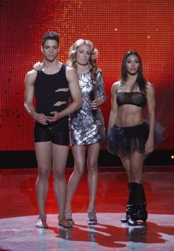 SO YOU THINK YOU CAN DANCE: Host Cat Deeley says farewell to eliminated contestants Victor Smalley (L) and Karen Hauer (R) on SO YOU THINK YOU CAN DANCE Wednesday, Nov. 25 (8:00-9:00 PM ET/PT) on FOX. ©2009 Fox Broadcasting Co. CR: Kelsey McNeal/FOX