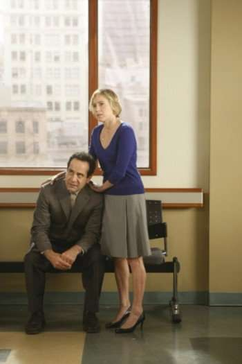 "MONK -- ""Mr. Monk and the End, part 1"" -- Pictured: (l-r) Tony Shalhoub as Adrian Monk, Traylor Howard as Natalie Teeger -- USA Network Photo: Hopper Stone"