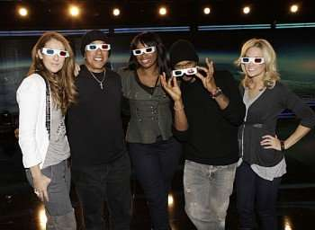 (l-r); Celine Dion, Smokey Robinson, Jennifer Hudson, Usher, and Carrie Underwood during a rehearsal in 3-D Grammy Glasses paying Tribute to The King of Pop, Michael Jackson, which broadcast Sunday, Jan. 31 live from STAPLES Center in Los Angeles, (8:00-11:30 PM, ET/delayed PT) on the CBS Television Network. Photo: Cliff Lipson/CBS ©2010 CBS Broadcasting Inc. All Rights Reserved.