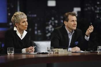 """SHARK TANK - From Mark Burnett, executive producer of """"Survivor"""" and """"The Apprentice,"""" and Sony Pictures Television comes """"Shark Tank,"""" an exciting new reality show that gives budding entrepreneurs the chance to make their dreams come true and become successful - and possibly wealthy - business people. But the entrepreneurs must first try to convince five tough, multi-millionaire tycoons to part with their own hard-earned cash and give them the funding they need to jumpstart their ideas. Enter the Sharks of """"Shark Tank"""" - Barbara Corcoran (Manhattan real estate titan), Kevin Harrington (king of infomercials), Robert Herjavec (technology tycoon), Daymond John (fashion mogul) and Kevin O'Leary (venture capitalist) - five multi-millionaires who lifted themselves up by their bootstraps to make their own entrepreneurial dreams come true and turned their ideas into empires. (ABC/ADAM LARKEY) BARBARA CORCORAN, ROBERT HERJAVEC"""