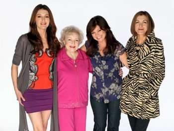 """Cast photo from the pilot episode of TV Land's first original scripted sitcom series """"Hot in Cleveland,"""" starring Jane Leeves, Betty White, Valerie Bertinelli and Wendie Malick (L to R).  Airing June 2010.  PR News Foto: TV Land, Craig T. Mathew"""