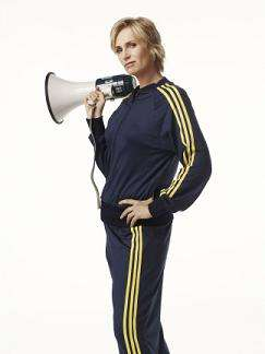GLEE: Jane Lynch as Sue in all-new episodes of GLEE premiering at a special time Tuesday, April 13 (9:28-10:30 PM ET/PT) following AMERICAN IDOL on FOX. ©2010 Fox Broadcasting Co. Cr: Patrick Ecclesine/FOX