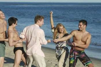 """THE BACHELORETTE - """"Episode 602"""" - Twelve sexy guys meet Ali at a beautiful Malibu beach house where they strike a pose for a charity calendar photo shoot. A few unlucky bachelors find their wardrobe leaves little to the imagination; however the guys do their best to impress the Bachelorette, none more so than Ty, who steals the show when he takes time to serenade Ali, on """"The Bachelorette,"""" MONDAY, MAY 31 (8:00-10:02 p.m., ET), on the ABC Television Network. (ABC/CHRIS CHAVIRA) TY, JONATHAN, KIRK, ALI FEDOTOWSKY, JUSTIN"""