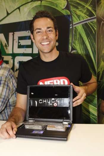 Chuck star Zachary Levi at the Warner Bros. booth. Wonder what secrets the government is hiding in there! (Copyright 2010 WBEI)