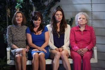 """Hot in Cleveland"" cast pictured left to right: Wendie Malick, Valerie Bertinelli, Jane Leeves and Betty White. (Photo by Evans Ward/PictureGroup)"