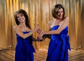"Pictured: Susan Lucci (left) and Wendie Malick (right) in a scene from ""Hot in Cleveland."""