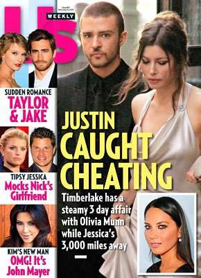 """US Weekly"" magazine with Justin Timberlake, Jessica Biel and Olivia Munn"