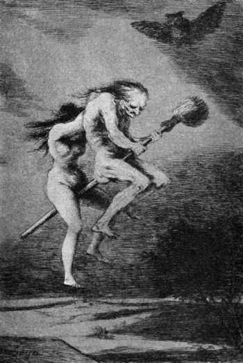 Francisco Goya's depiction of witches going to a Sabbath