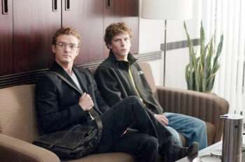 """Pictured left to right: Justin Timberlake, Jesse Eisenberg in a scene from """"The Social Network."""""""