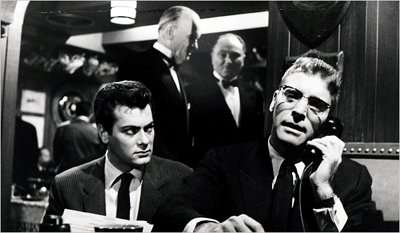 """Press agent Tony Curtis and powerful columnist Burt Lancaster in """"Sweet Smell of Success"""" (United Artists)"""