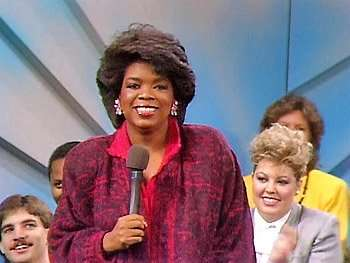 Opra Winfrey on her first syndicated show, The Oprah Winfrey Show in 1986 (ABC Television)