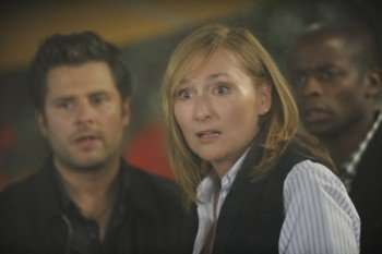 PSYCH -- Pictured: (l-r) James Roday as Shawn Spencer, Nora Dunn as Eve Asher, Dule Hill has Gus Guster -- Photo by: Alan Zenuk/USA Network