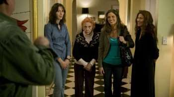 "Pictured left to right: Catherine Keener, Ann Morgan Guilbert, Amanda Peete, Rebecca Hall star in ""Please Give."""