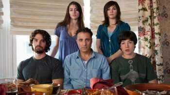 "Pictured: Steven Strait (front left), Dominik Garcia Lorido (rear left), Andy Garcia (center front), Julianna Margulies (rear right), Ezra Miller (front right), star in ""City Island."""