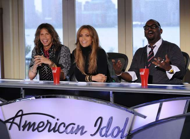 Pictured L-R: Season 10 Judges Steven Tyler, Jennifer Lopez and Randy Jackson on AMERICAN IDOL airing on FOX. CR: Michael Becker / FOX