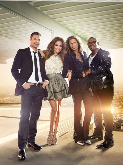 AMERICAN IDOL judges Pictured: Ryan Seacrest, Jennifer Lopez, Steven Tyler and Randy Jackson. CR: Tony Duran / FOX