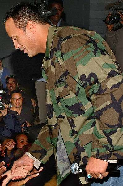 """""""Dwayne 'The Rock' Johnson"""" greeting the troops"""