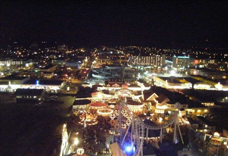 "Wildwood from New Jersey shoreline atop Mariners Landing ferris wheel on ""Jersey Shore"""