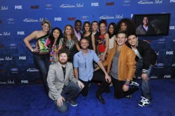 Finalists (Clockwise from Left) Lauren Alaina, Thia Megia, Hayley Reinhart, Jacob Lusk, Karen Rodriguez, Scott McReery, Naima Adedapo, Pia Toscano, Ashthon Jones, Stefano Langone, James Durbin, Paul McDonald and Casey Abrams arrive on the red carpet at the AMERICAN IDOL TOP 13 FINALIST PARTY. © 2011 FOX BROADCASTING. CR: Mark Davis/FOX