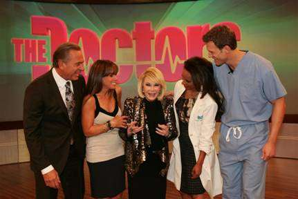 "Photo, pictured left to right:  Dr. Andrew Ordon, Melissa Rivers, Joan Rivers, Dr. Lisa Masterson and Dr. Travis Stork on ""The Doctors."""