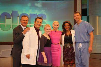 """The Doctors"" Photo, pictured left to right:  Dr. Andrew Ordon, Dr. Jim Sears, Brooke Milam, Kayla Martell, Dr. Lisa Masterson and Dr. Travis Stork."