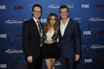 AMERICAN IDOL: (L-R) Peter Rice Chairman, Entertainment Fox Networks Group, Jennifer Lopez, and Kevin Reilly, President, Entertainment, FOX Broadcasting. © 2011 FOX BROADCASTING. CR: Frank Micelotta/FOX