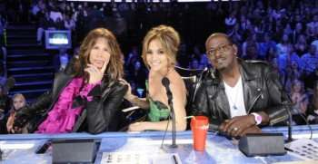 Pictured L-R: Steven Tyler, Jennifer Lopez and Randy Jackson on AMERICAN IDOL. CR: Frank Micelotta / FOX.
