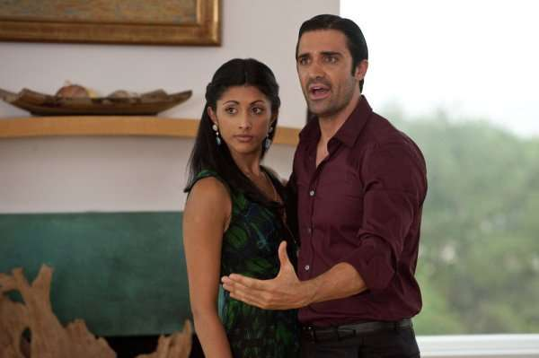 "Royal Pains -- ""Listen to the Music"" -- Pictured: (l-r) Reshma Shetty as Divya Katdare, Gilles Marini as Niko -- USA Network Photo: David Giesbrecht"