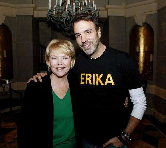 "Six-time Emmy-winner Erika Slezak from ABC's ""One Life to Live"" is surprised by the cast and crew with a celebration to mark her 40th anniversary playing Victoria Lord on ""One Life to Live."" (ABC/Heidi Gutman) ERIKA SLEZAK, RON CARLIVATI"