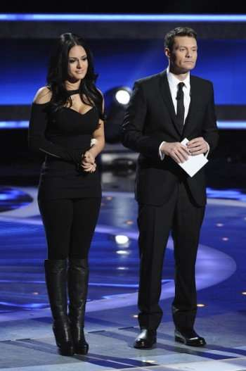 Pia Toscano was eliminated on AMERICAN IDOL Thursday, April 7th. CR: Michael Becker / FOX. Also pictured: Ryan Seacrest (R).